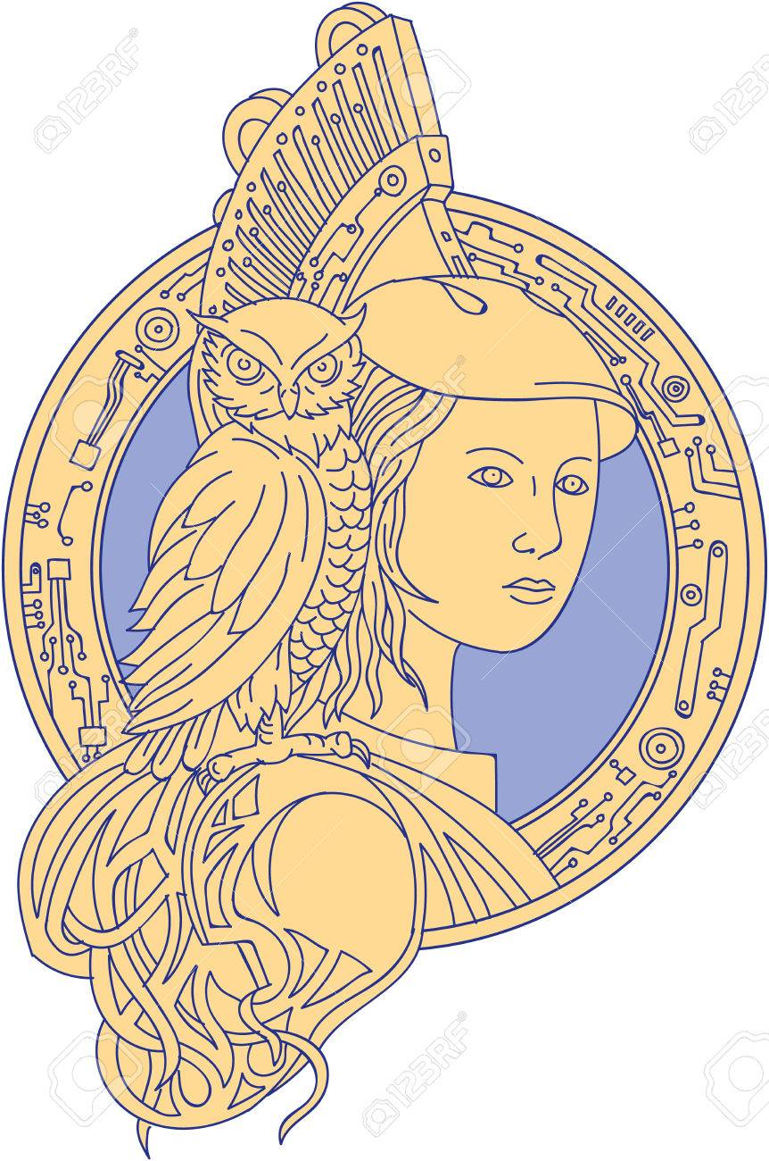 Mono Line Style Illustration Of Athena Or Athene The Goddess