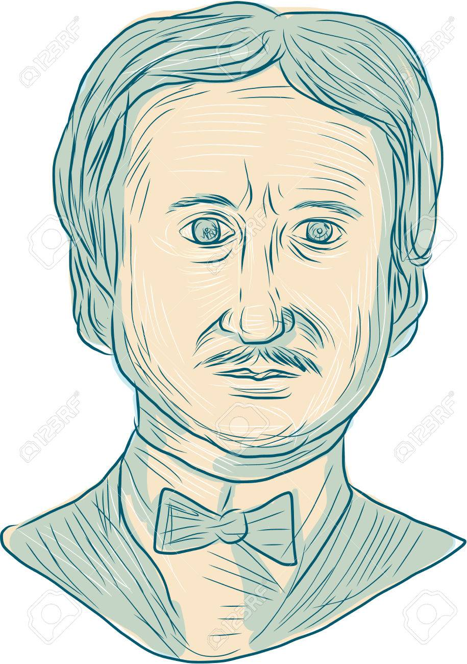 Drawing sketch style illustration of edgar allan poe an american writer editor poet