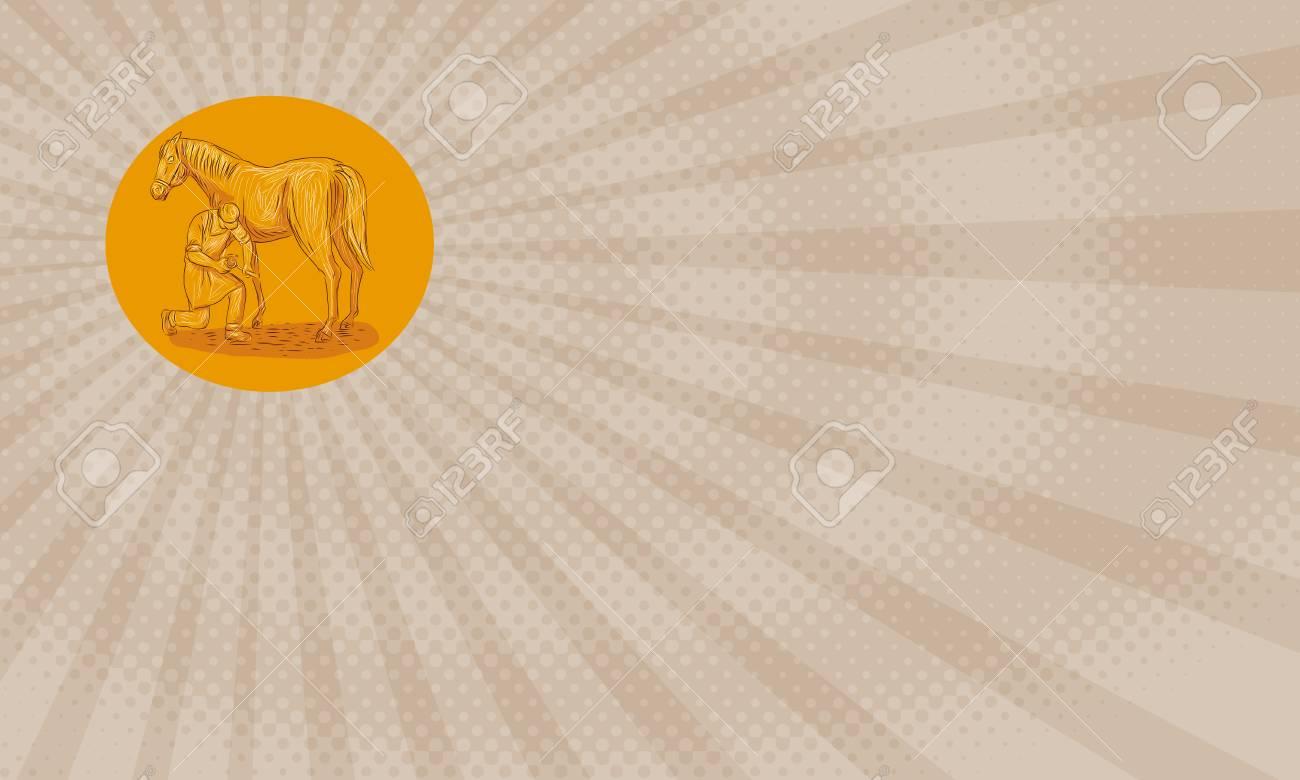 Carte De Visite Illustree Illustration Du Style Desquisse Dun Marechal Ferrant Specialiste Des Soins Sabot Chez Le Cheval Incluant La Taille Et