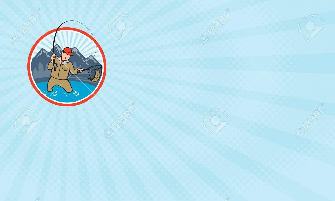 Carte De Visite Montrant Illustration Dun Pecheur A La Mouche Avec Le Bobinage Canne Et Moulinet Filets Un Poisson Truite Linterieur
