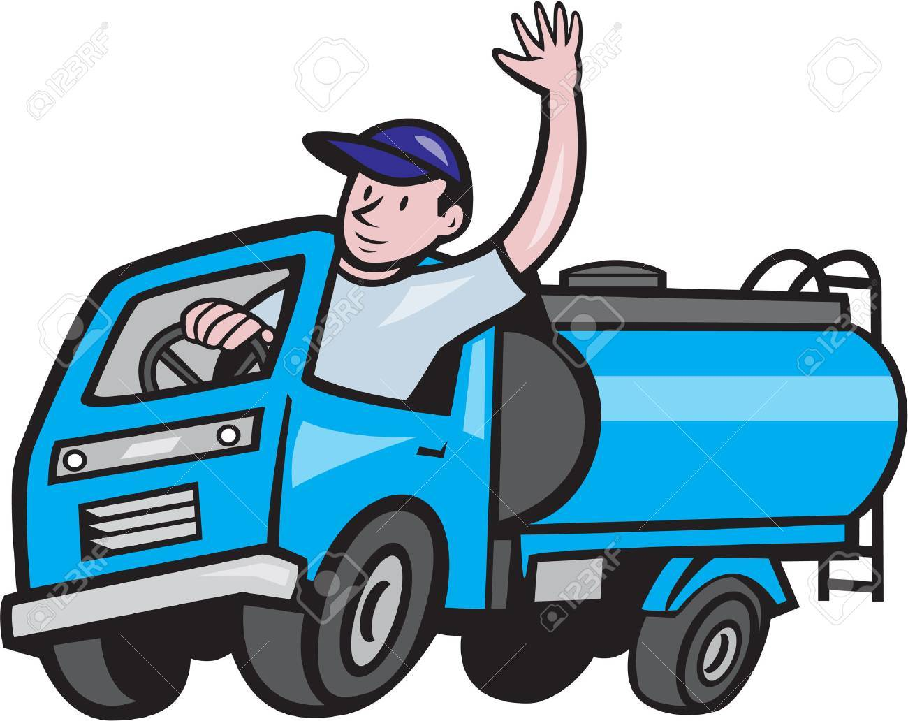 Illustration of a 4 wheeler baby tanker truck petrol tanker with driver waving hello on isolated white background done in cartoon style. - 75306107
