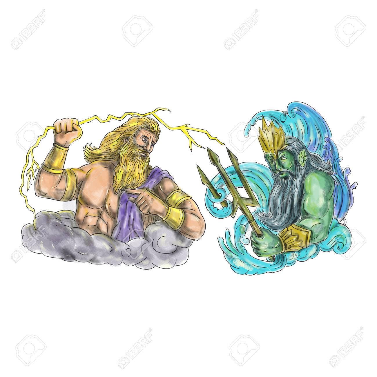 L Illustration Du Style De Tatouage De Zeus Le Dieu Grec Du Ciel Et