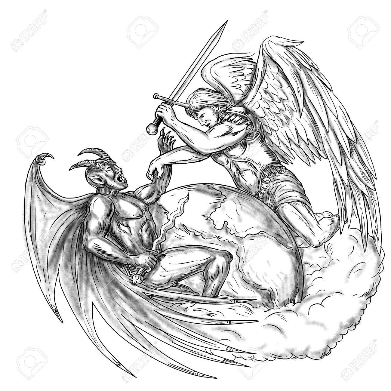 Ilustración Del Estilo Del Tatuaje De San Miguel El ángel Del