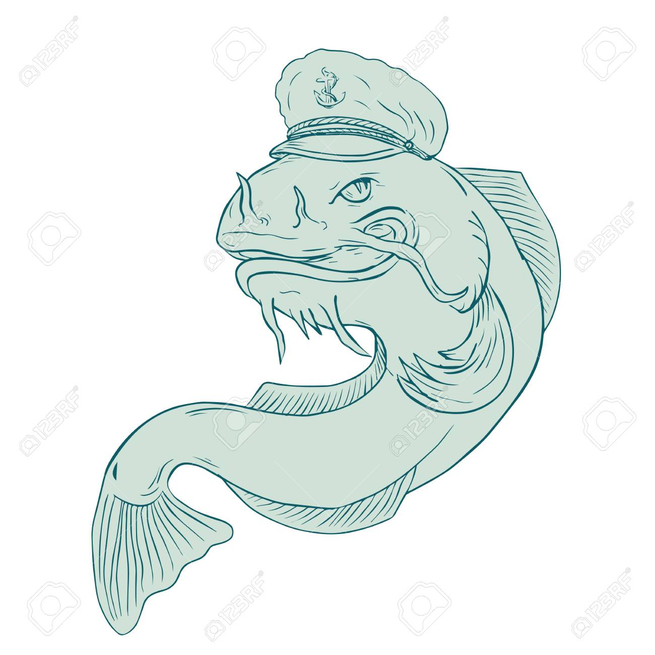 Drawing sketch style illustration of a catfish wearing sea captain