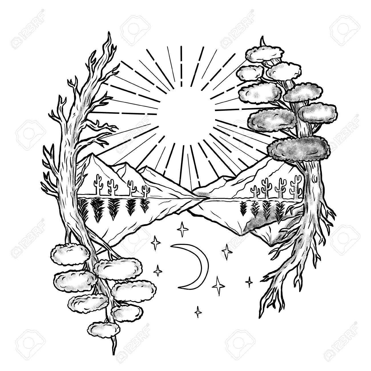 Tattoo style illustration of a day and night symbolism with sun tattoo style illustration of a day and night symbolism with sun trees and mountains on biocorpaavc