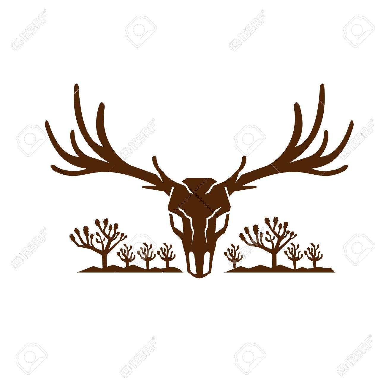 icon style illustration of mule deer skull viewed from front rh 123rf com  deer skull vector art free
