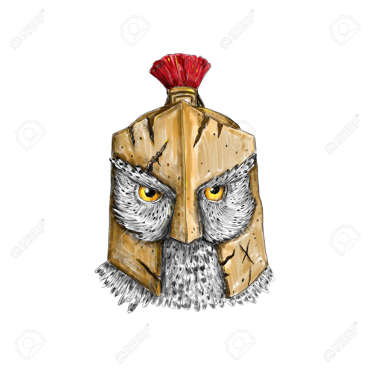 Tattoo Style Illustration Of An Owl Wearing A Spartan Helmet Stock