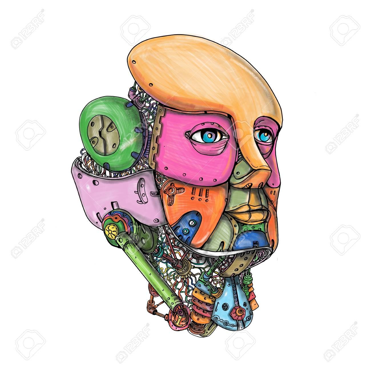楽しみにして孤立の背景に女性のアンドロイド ロボットの Ai 人工知能頭