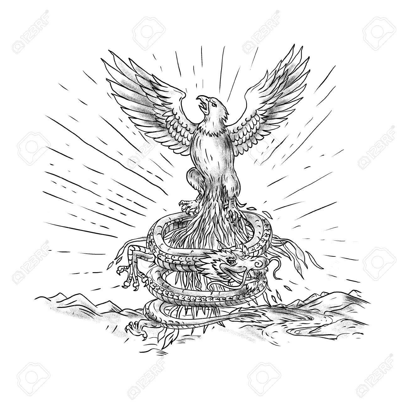 Illustration De Style Tatouage De Et Aigle S élevant Comme Un Phénix Avec Dragon Enroulement Ci Dessous Avec Des Montagnes En Arrière Plan
