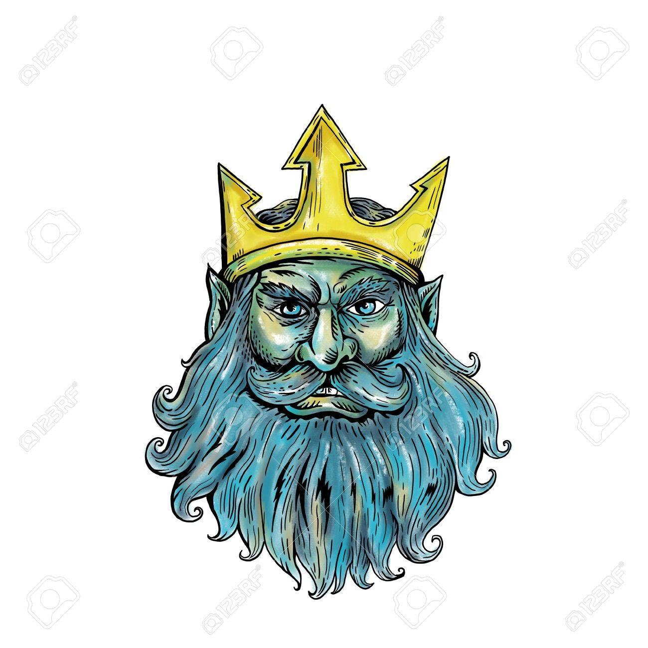 Woodcut Style Illustration Of Head Of Neptune Poseidon Or Triton
