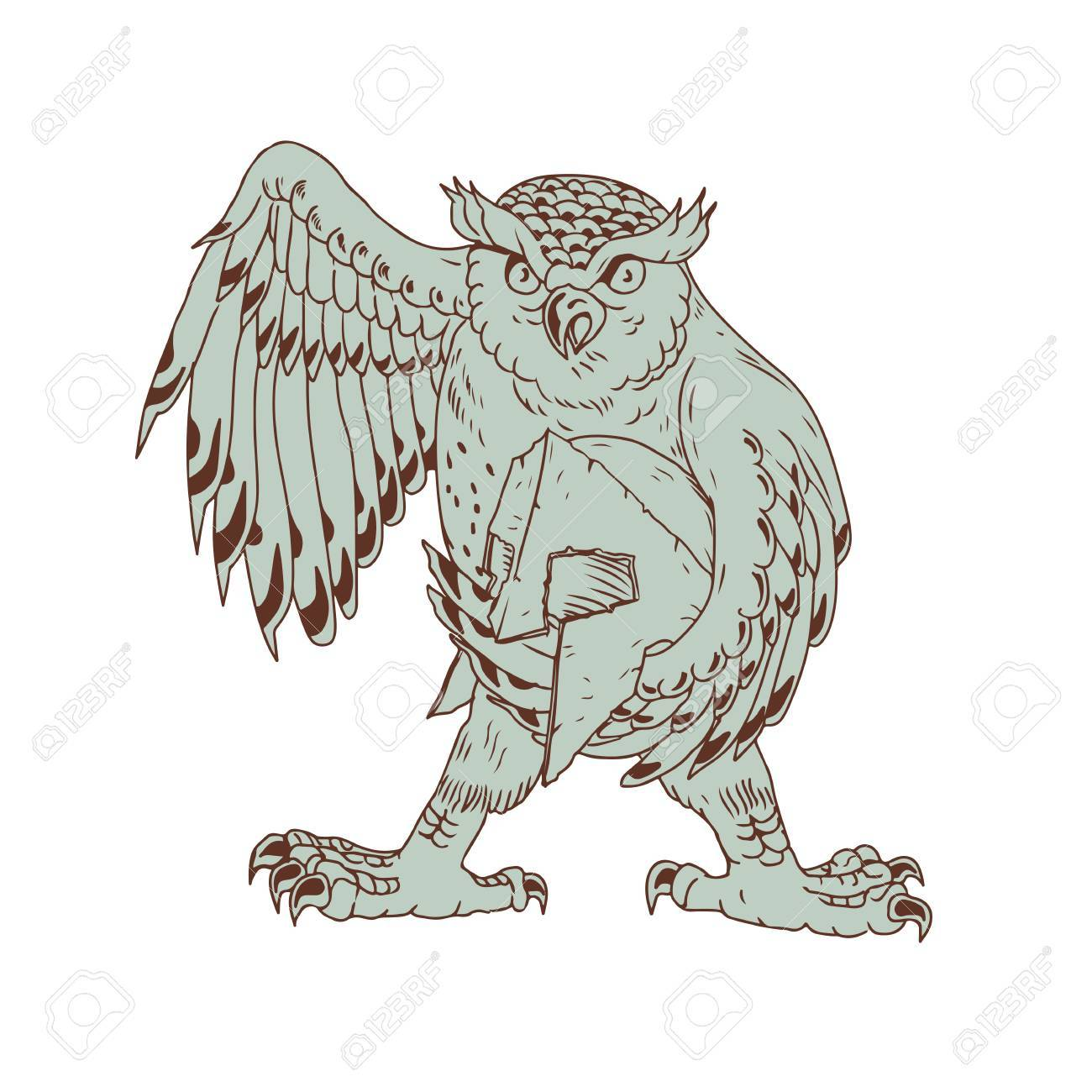 - Drawing Sketch Style Illustration Of An Angry Great Horned Owl