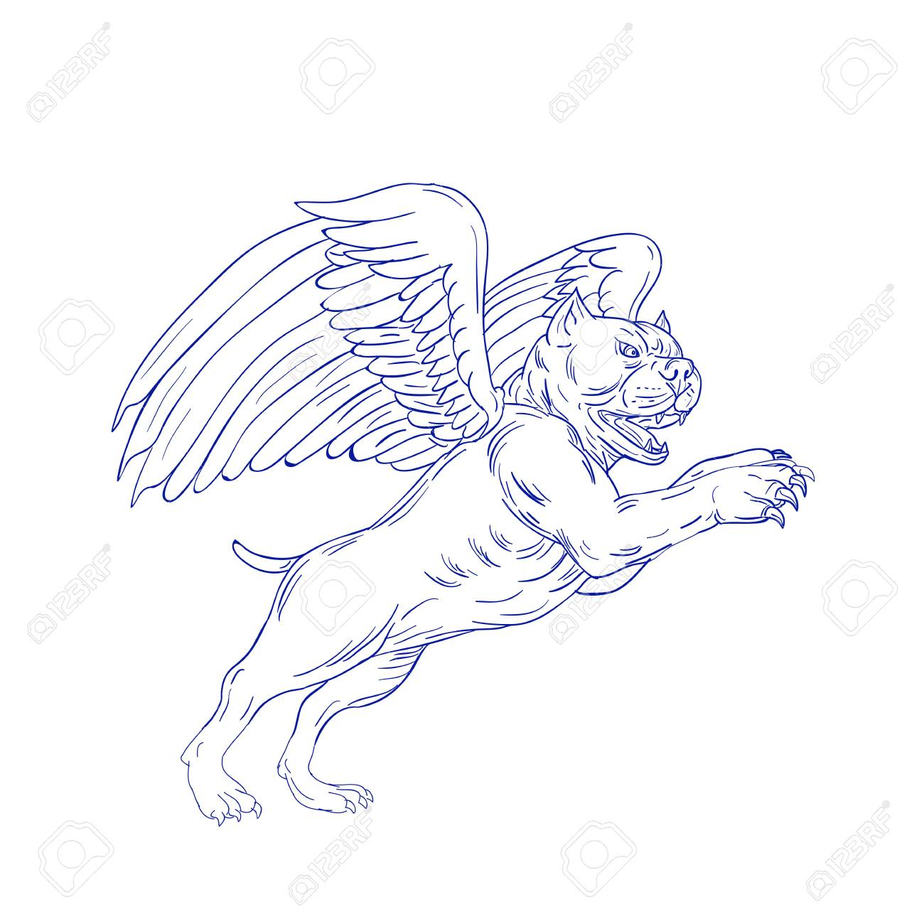 Drawing sketch style illustration of an american bully dog with angel wings prancing jumping viewed from