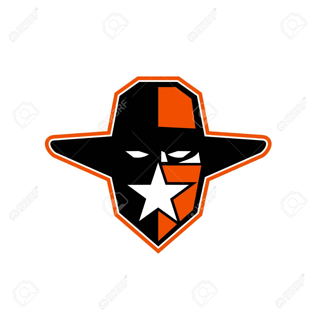 Icon Style Illustration Of An Outlaw Maverick Or Bandit Cowboy Wearing Hat And Star On