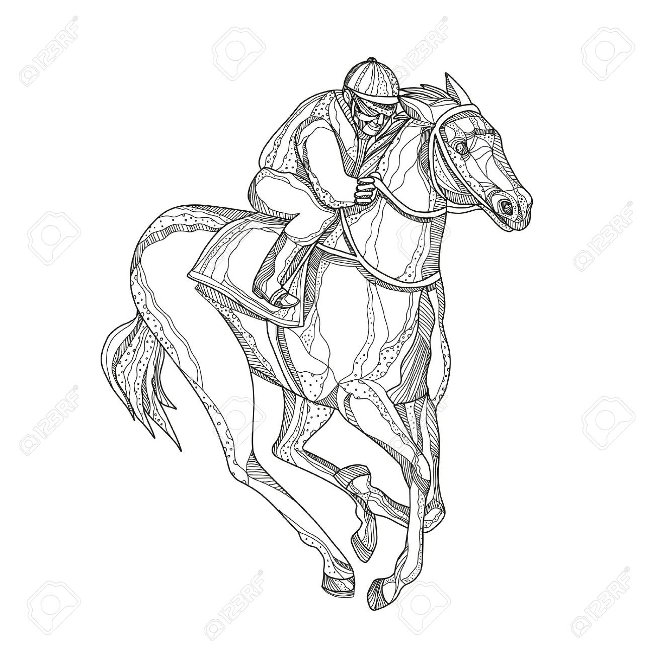Doodle Art Illustration Of A Jockey Or Equestrian Riding Horse Royalty Free Cliparts Vectors And Stock Illustration Image 95571276