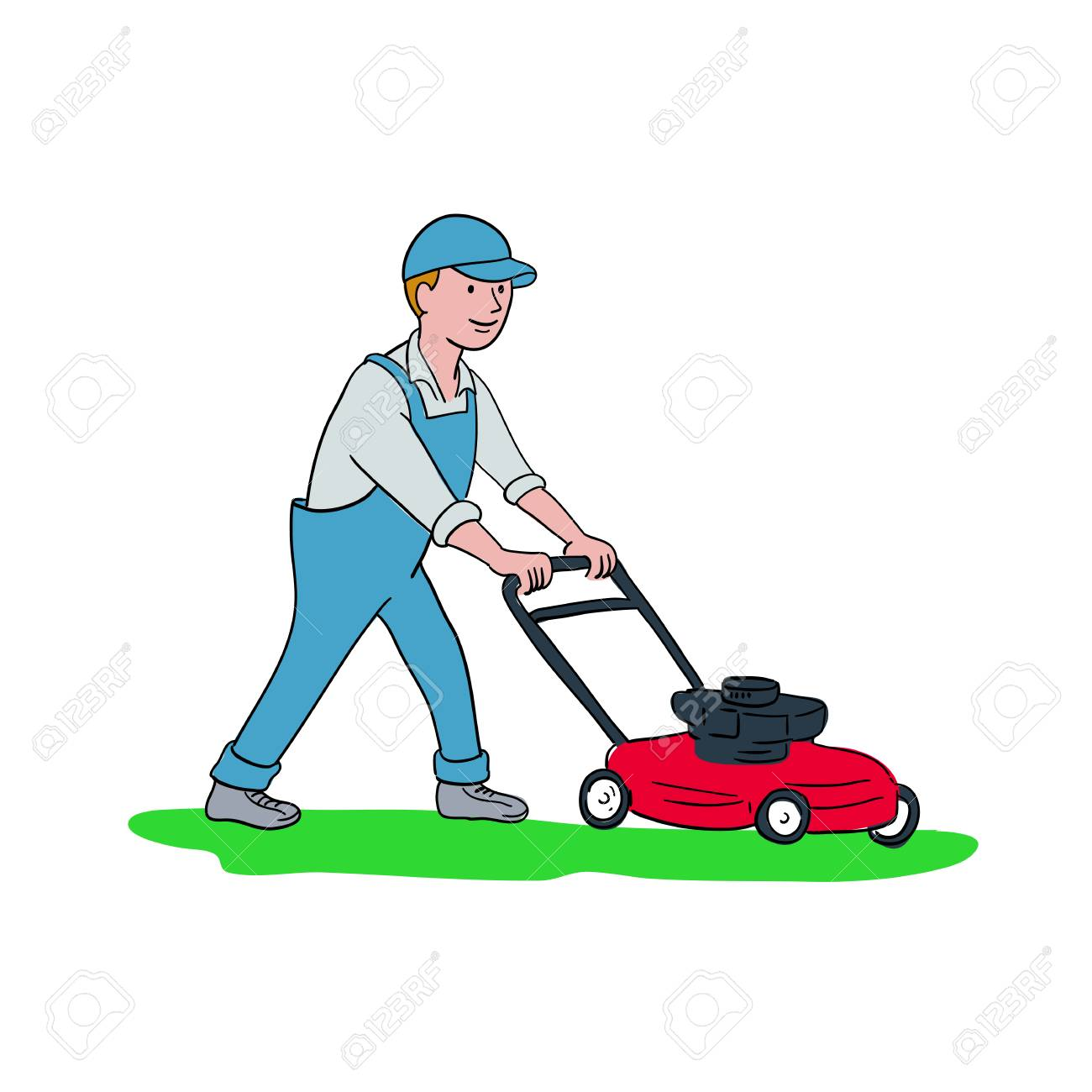 Cartoon style illustration of a gardener mowing lawn with lawnmower or lawn mower viewed from side on isolated background. - 96550896