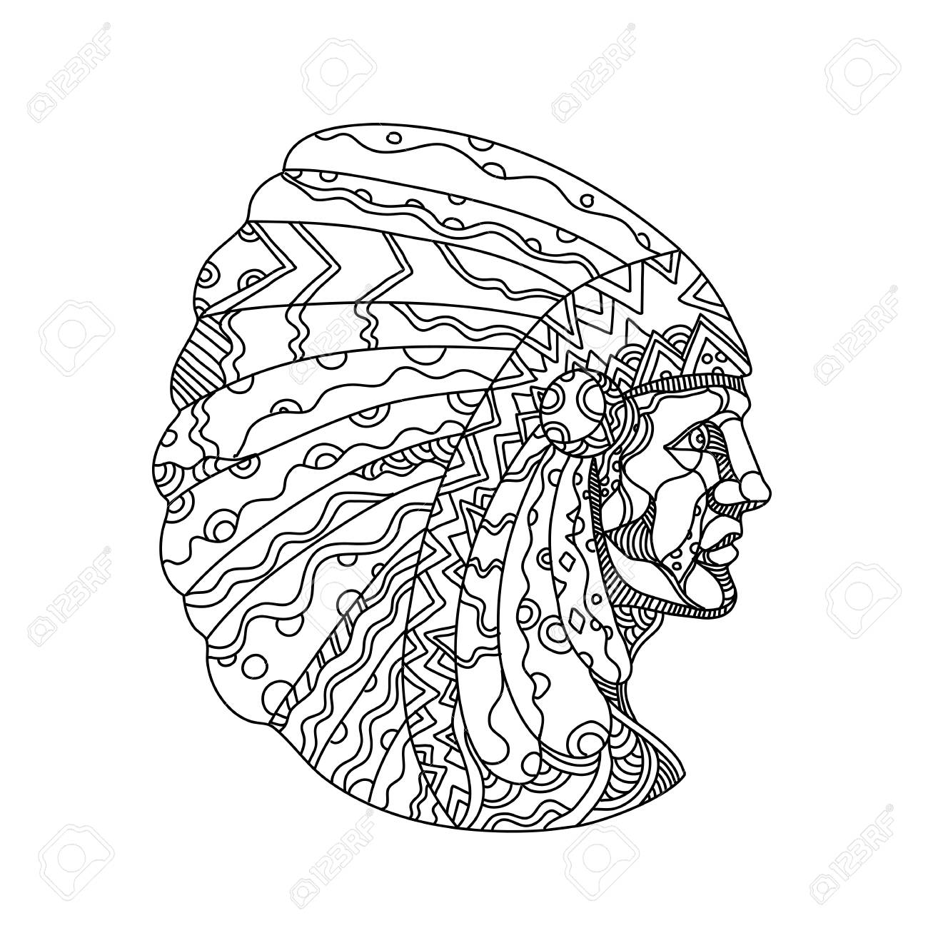 Doodle art illustration of a Native American, American Indian,..