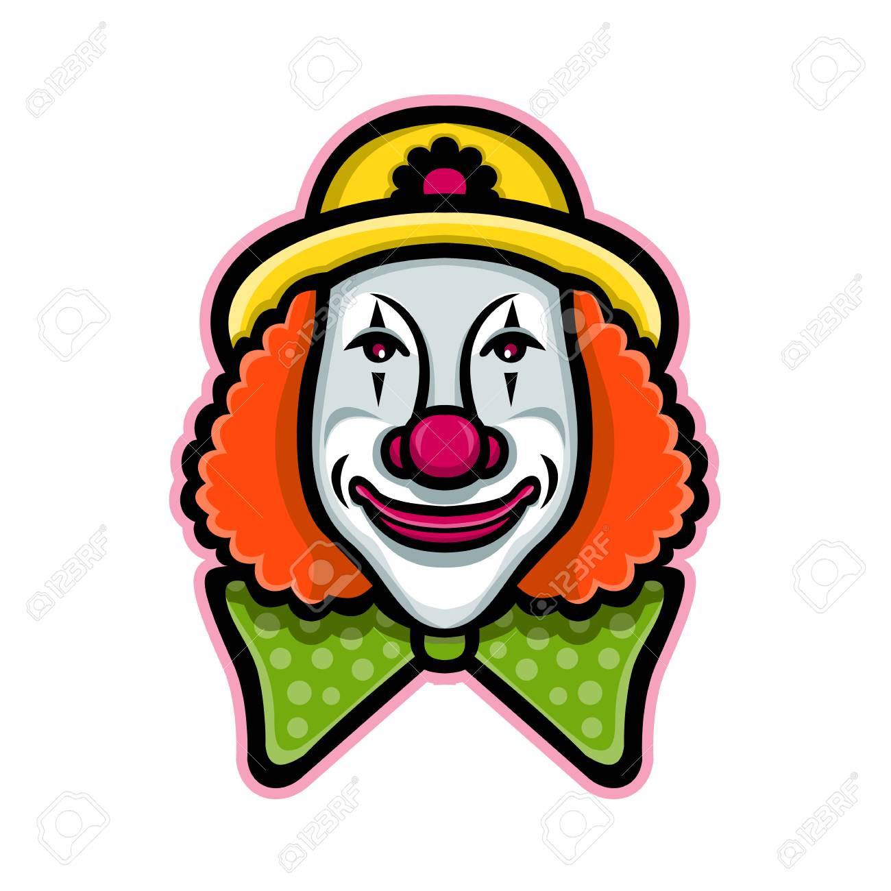 Mascot icon illustration of head of a vintage whiteface circus clown viewed from front on isolated background in retro style. - 102034739