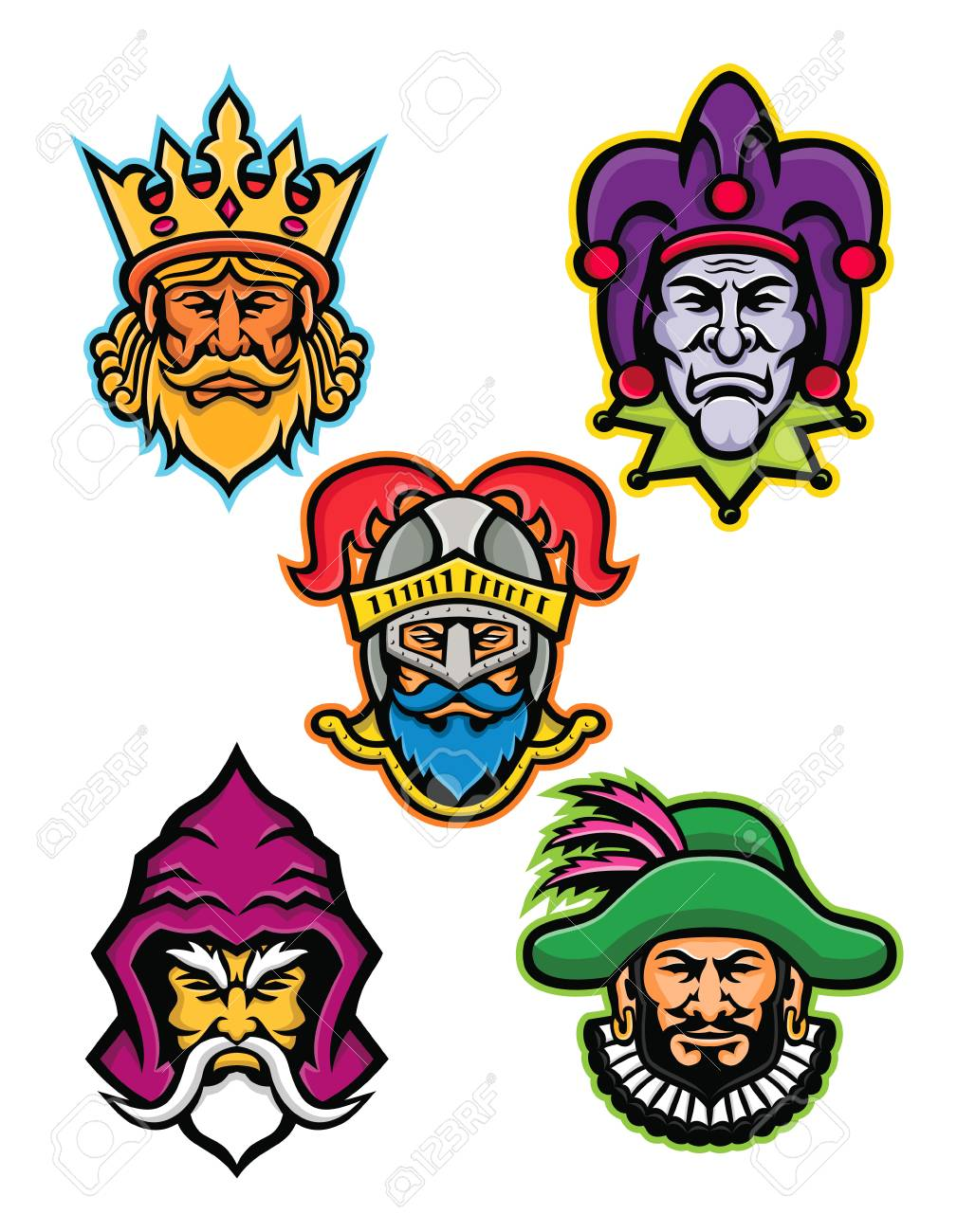 ab44d6e5d7 Mascot icon illustration set of heads of the European medieval royal court  figures like the king or monarch, court jester or fool, knight, ...