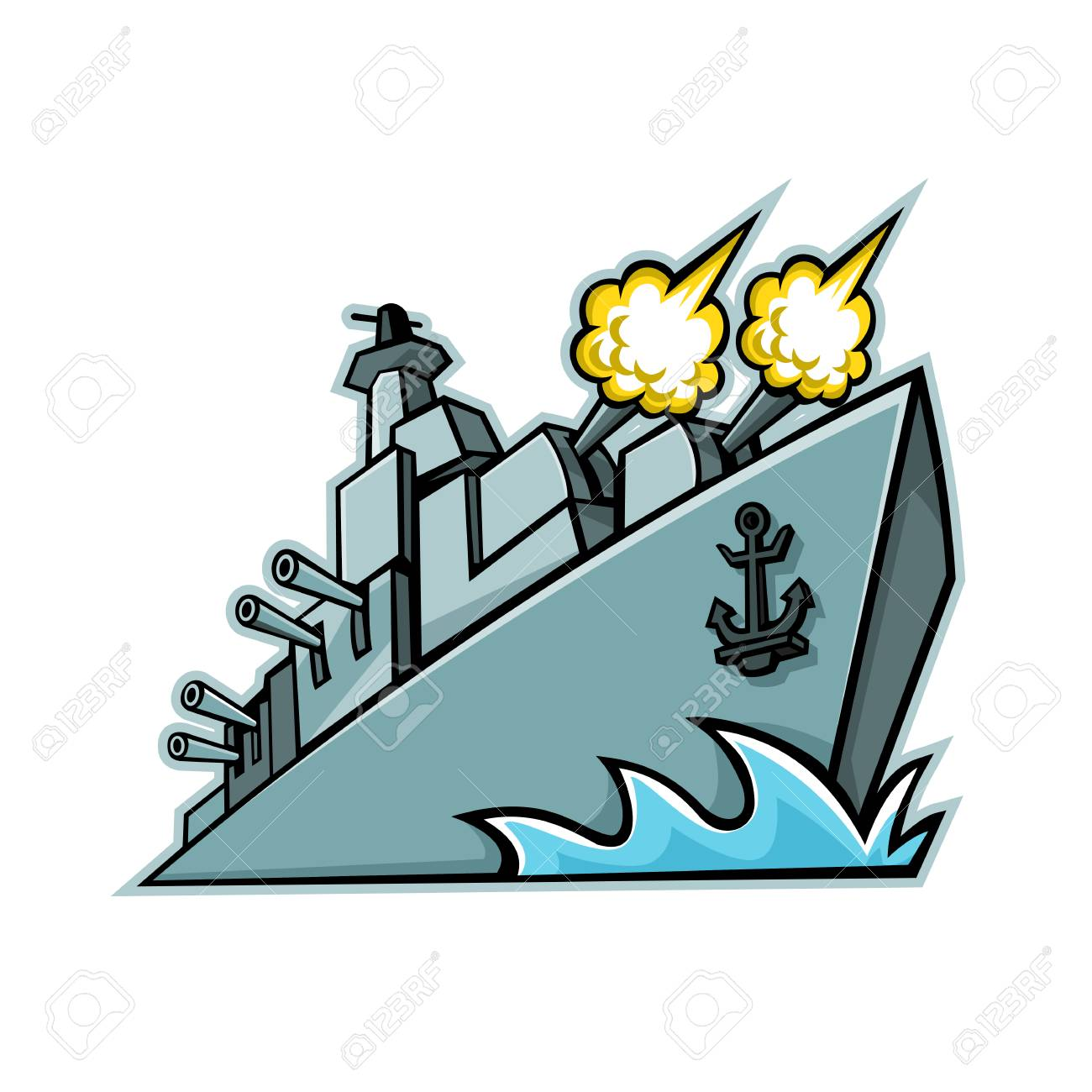 Mascot icon illustration of an American destroyer, warship or battleship with cannons firing viewed from a low angle on isolated background in retro style. - 103481558