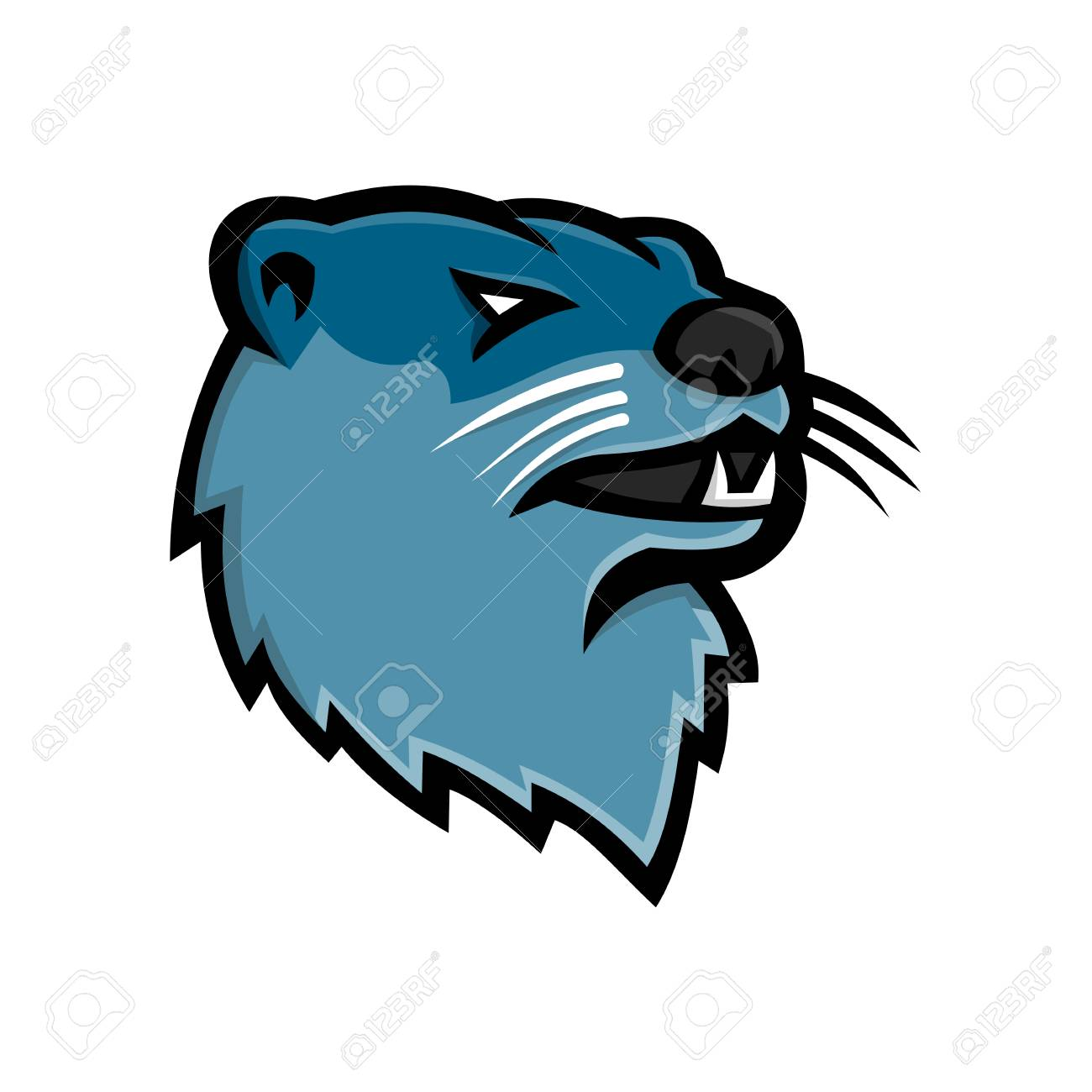 Mascot icon illustration of head of a North American river otter, northern river otter or the common otter, a semiaquatic mammal endemic to the North America on isolated background in retro style. - 106213024
