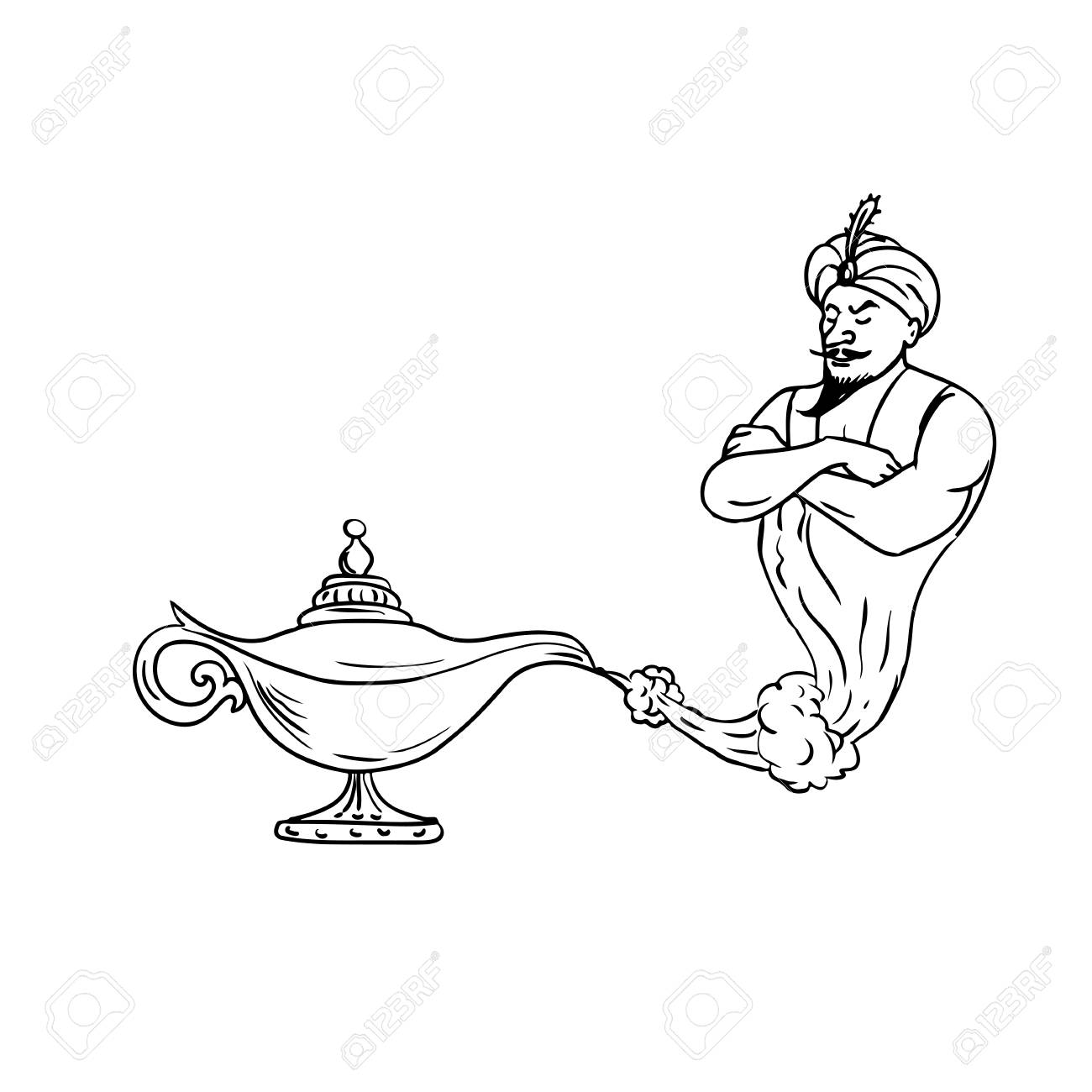 Drawing sketch style illustration of an arabian genie coming