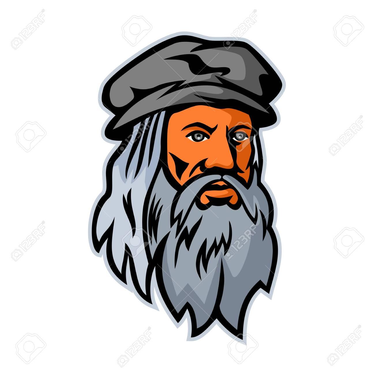 Mascot icon illustration of head of Leonardo di ser Piero da Vinci, more commonly Leonardo da Vinci, an Italian polymath of the Renaissance viewed from front on isolated background in retro style. - 127925252