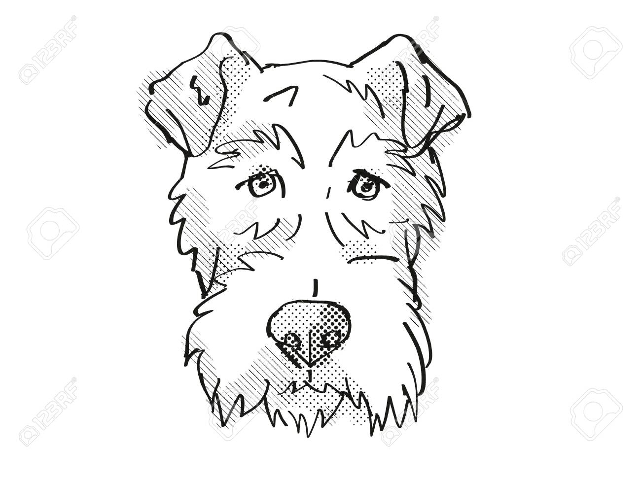 Retro Cartoon Style Drawing Of Head Of A Fox Terrier A Domestic