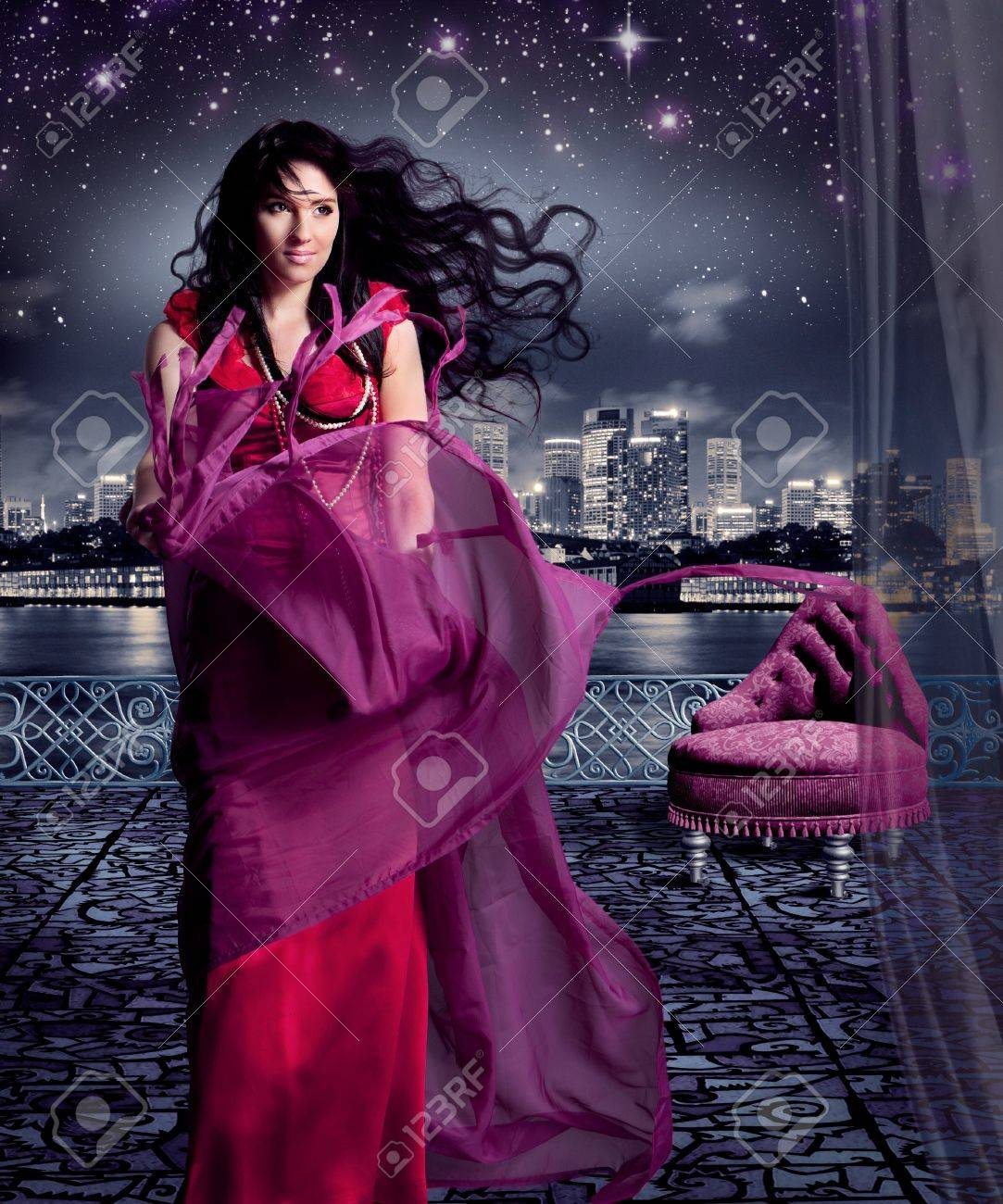 beautiful girl in evening dress on a terrace, like cinderella Stock Photo - 15385396