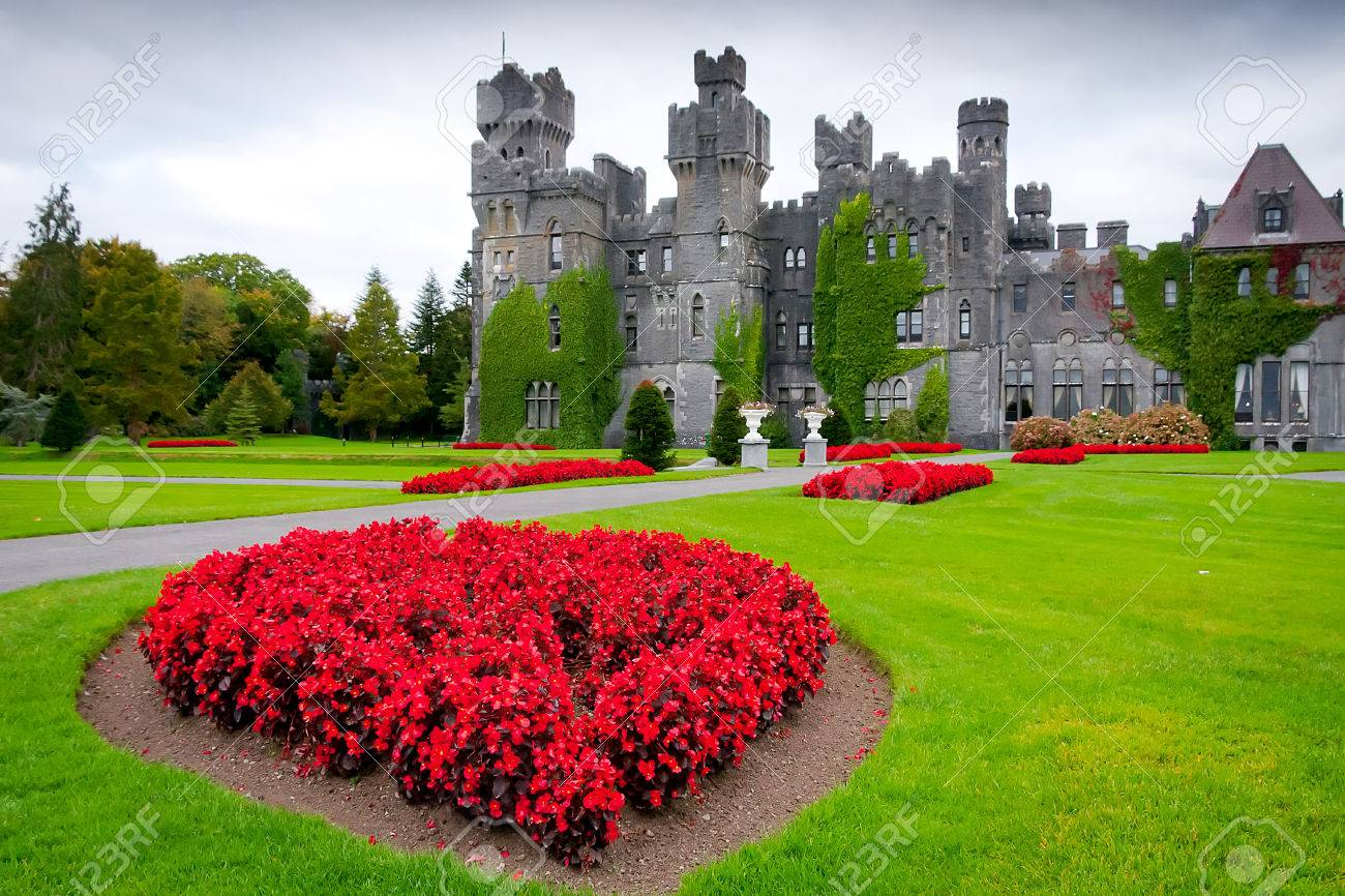 Ashford Castle and gardens in Ireland Stock Photo - 56054395