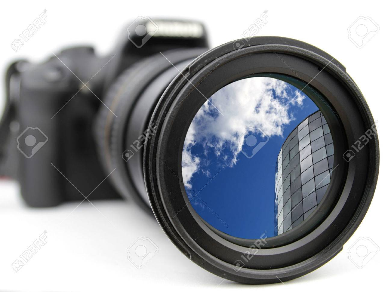 Zoomed-in on the blue sky and modern building Stock Photo - 57591253