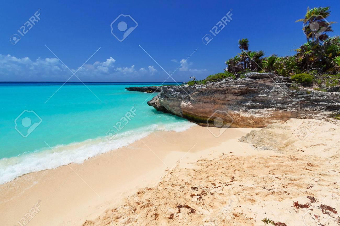 Caribbean Sea beach in Playa del Carmen, Mexico Stock Photo - 59317301