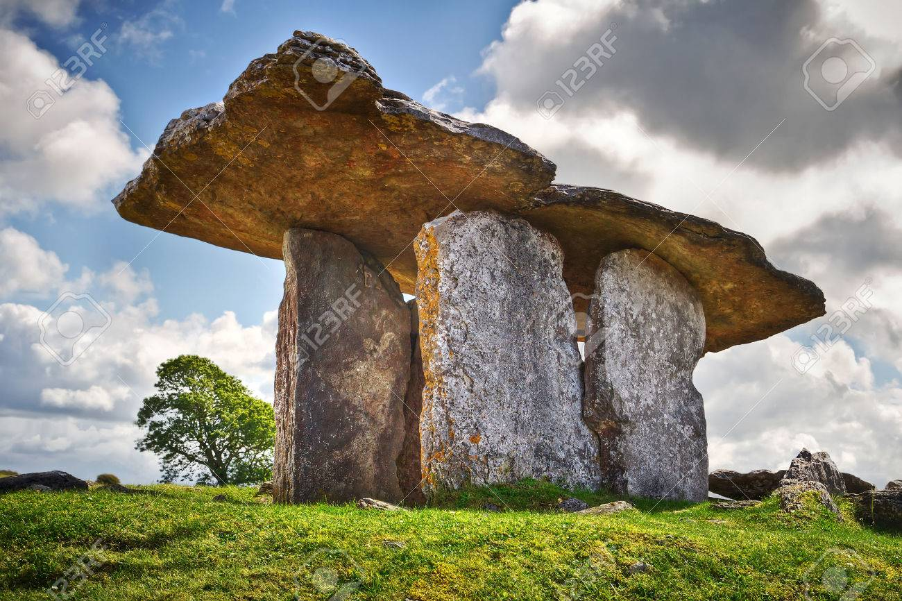 5000 years old Polnabrone Dolmen in Burren, Ireland Stock Photo - 58802768