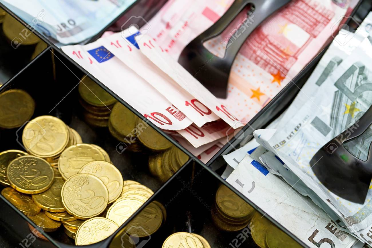 Euro money in the till Stock Photo - 58901728