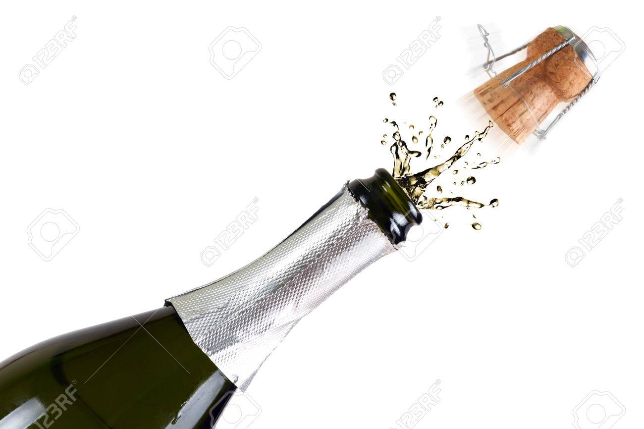 Opened bottle of champagne with splashes over white background Stock Photo - 58805756