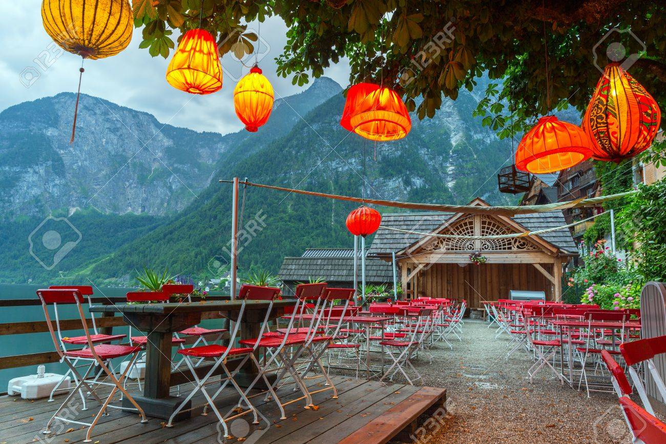 Lampions In Empty Restaurant Of Hallstatt Town Austria Stock Photo