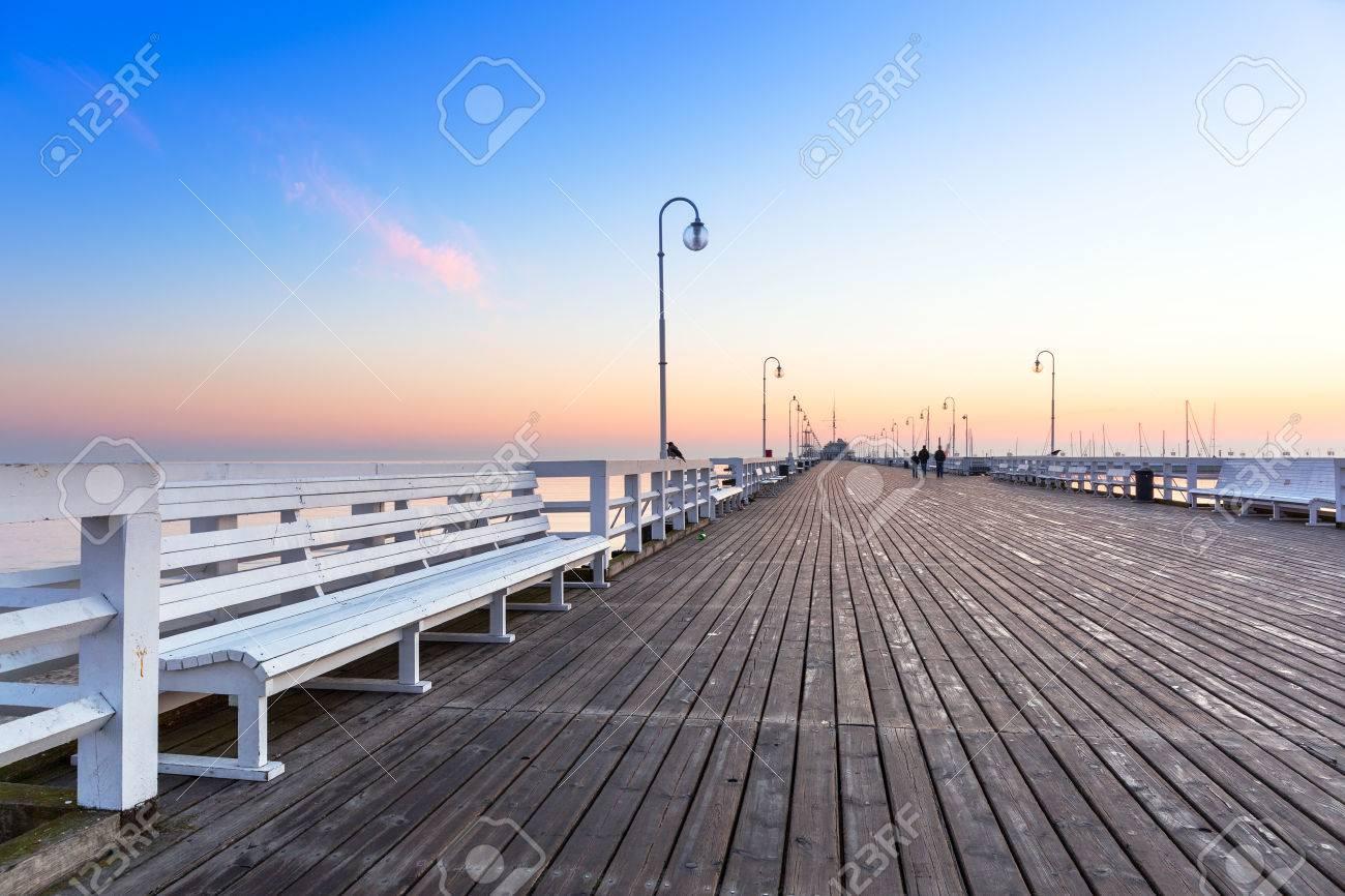 Sunrise at wooden pier in Sopot, Poland Stock Photo - 59795546