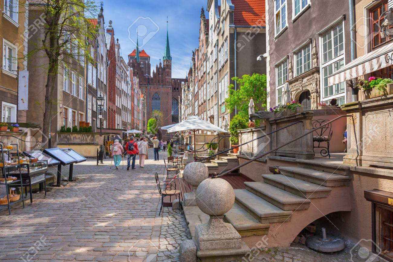 Architecture of Mariacki street in old town of Gdansk, Poland Stock Photo - 59625582