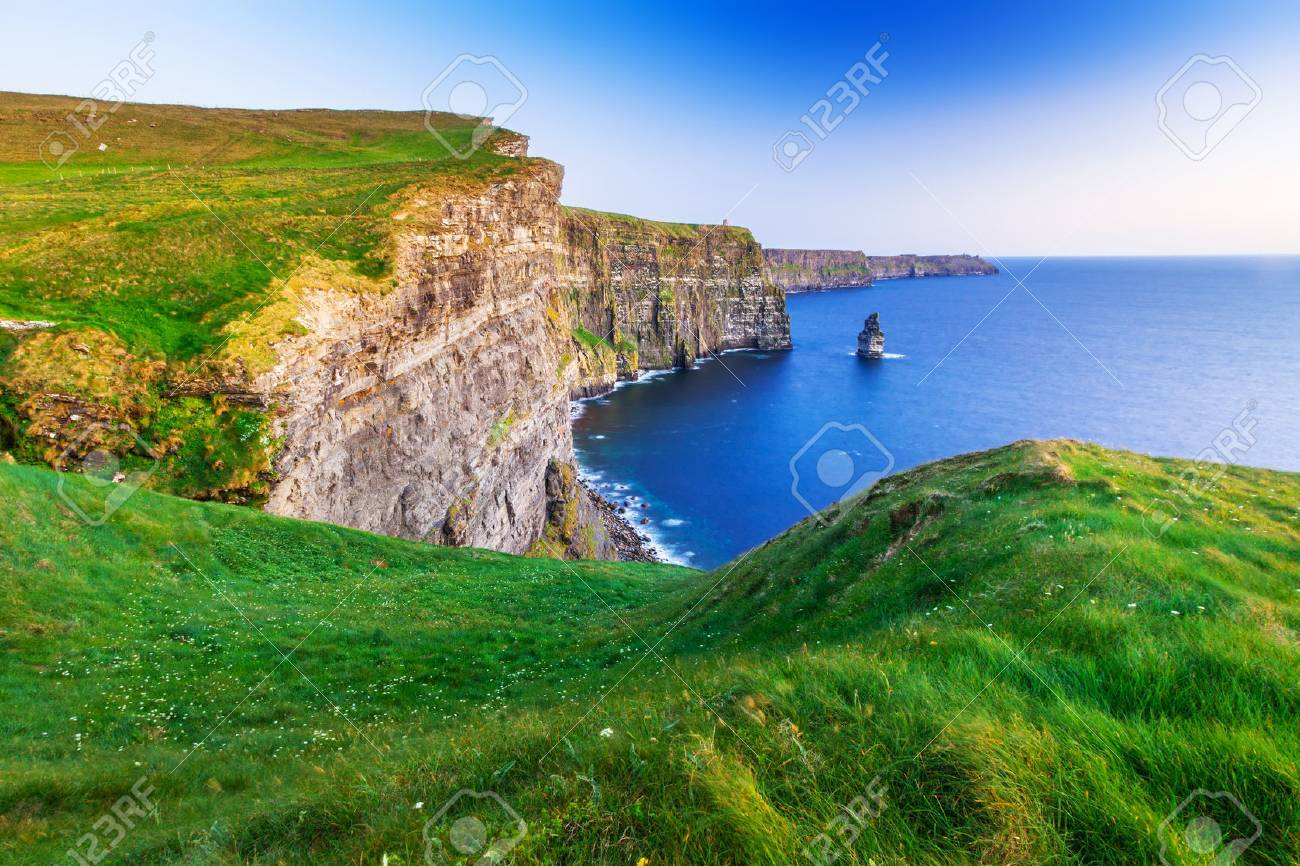 Cliffs of Moher at sunset in Co. Clare, Ireland Stock Photo - 64891424