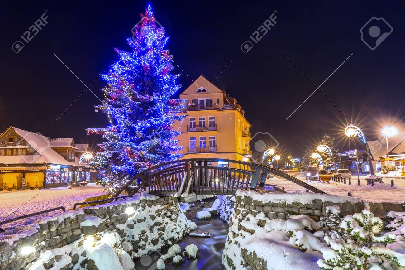 Beautiful Christmas.Beautiful Christmas Tree At Krupowki Street In Zakopane Poland