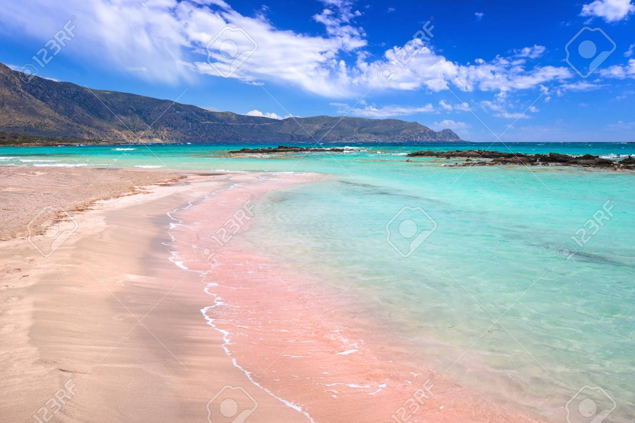Elafonissi Beach With Pink Sand On Crete Greece