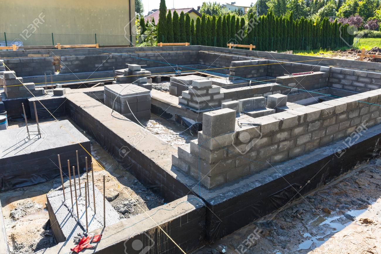 Brick Up Concrete Blocks For Foundation Of A House Stock Photo Picture And Royalty Free Image Image 85239178