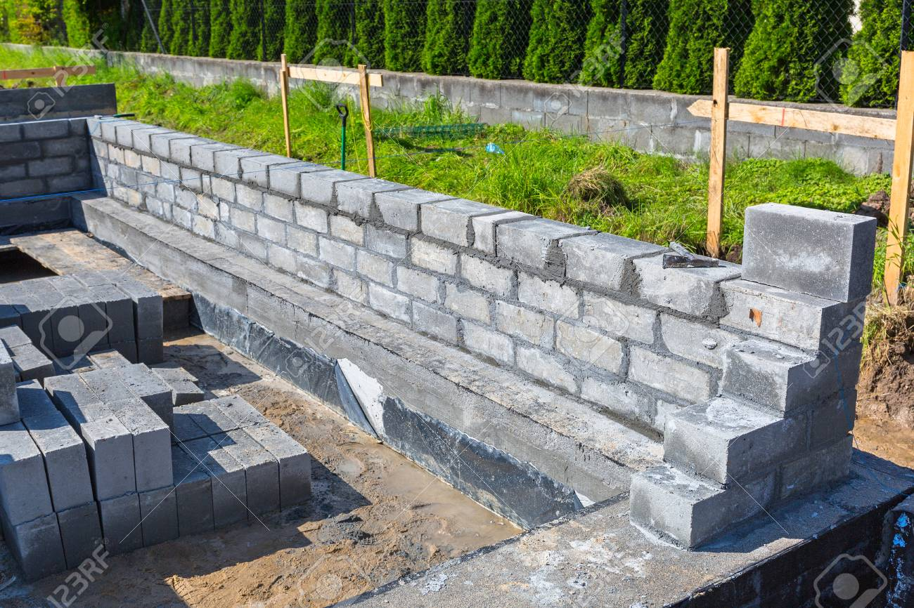 Brick Up Concrete Blocks For Foundation Of A House Stock Photo Picture And Royalty Free Image Image 85239183