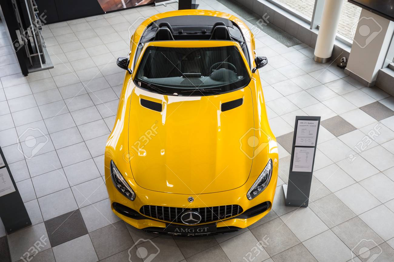 Gdansk Poland February 13 2018 Yellow Mercedes Gt C Roadster Stock Photo Picture And Royalty Free Image Image 99672259
