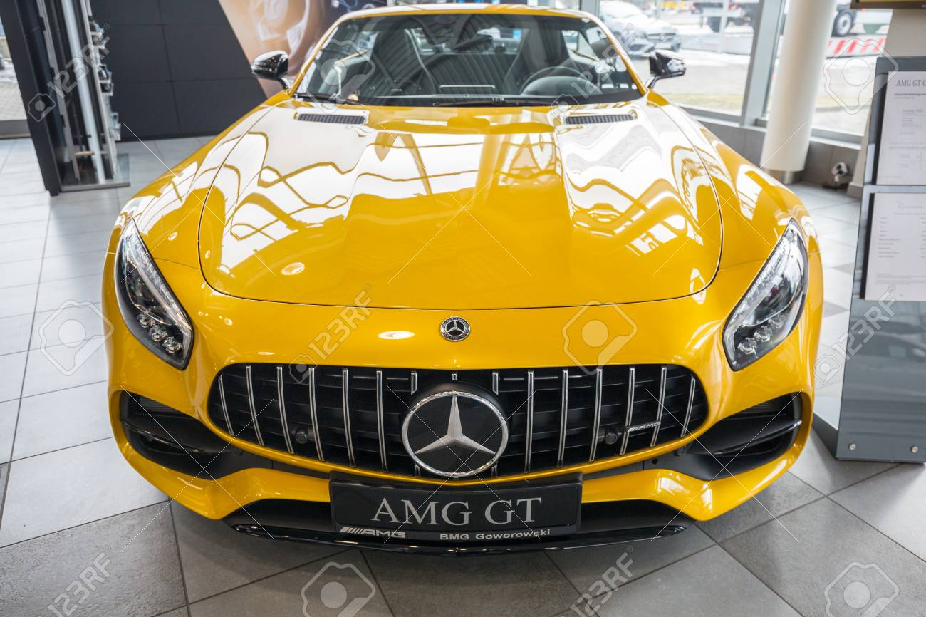 Gdansk Poland February 13 2018 Yellow Mercedes Gt C Roadster Stock Photo Picture And Royalty Free Image Image 99672269