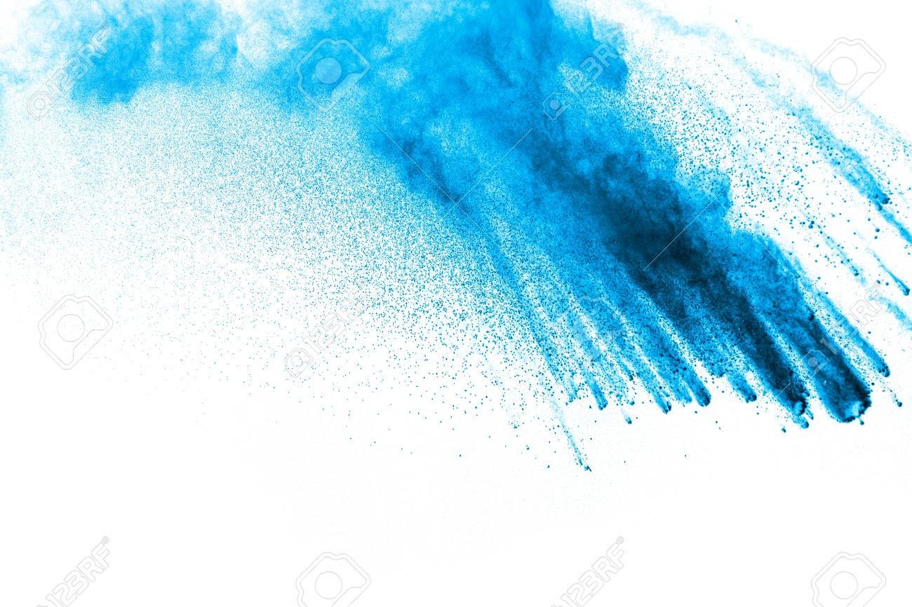 Abstract Blue Dust Explosion On White Background Abstract Blue