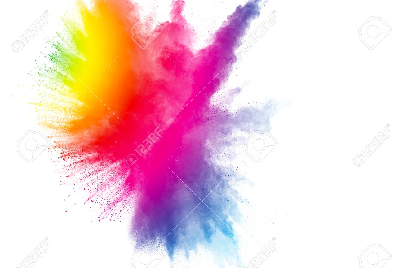 abstract multicolored powder explosion on white background stock