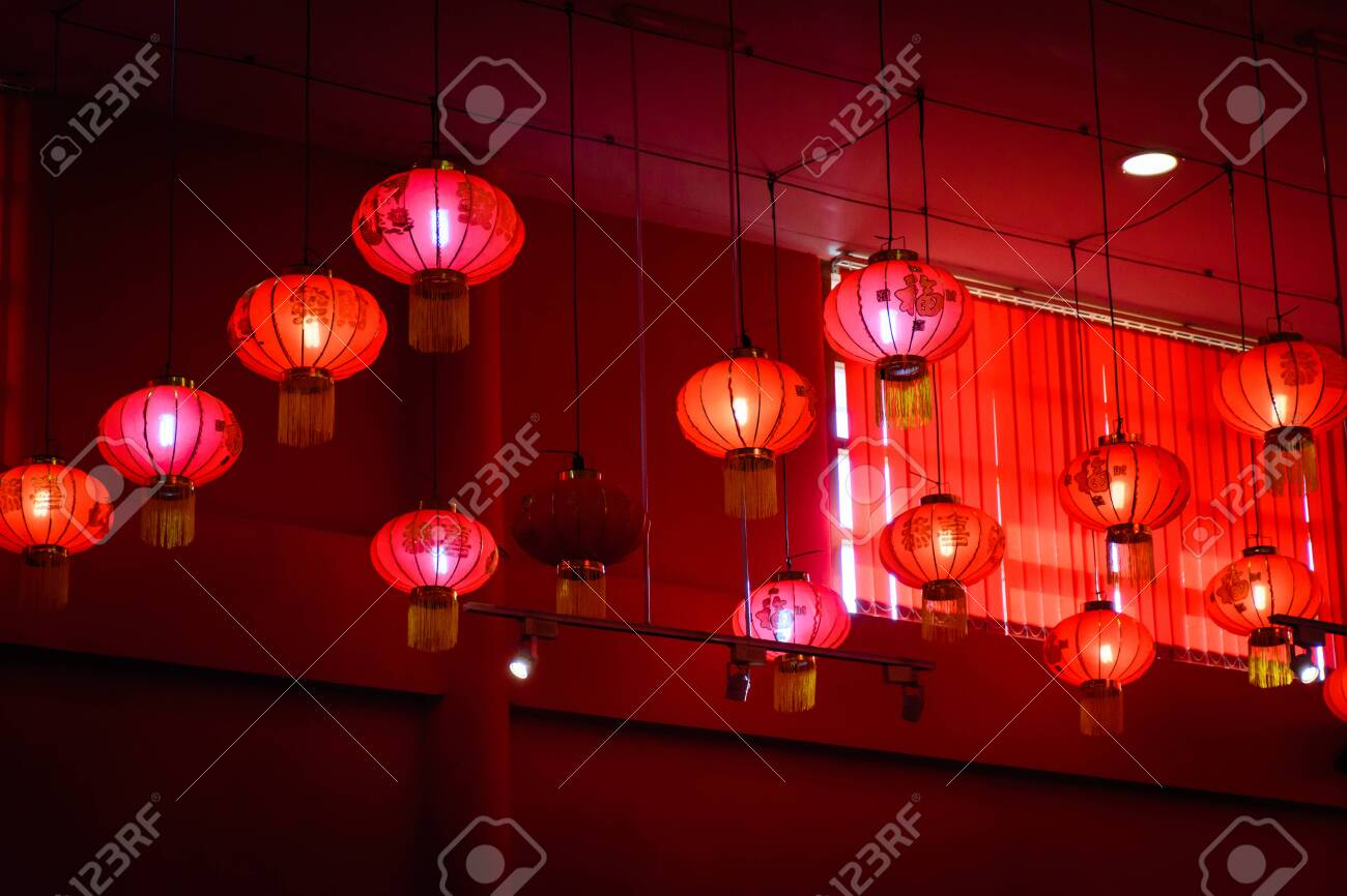 Decorating Hanging Chinese Lantern Lamps On The Ceiling Stock Photo Picture And Royalty Free Image Image 133897530