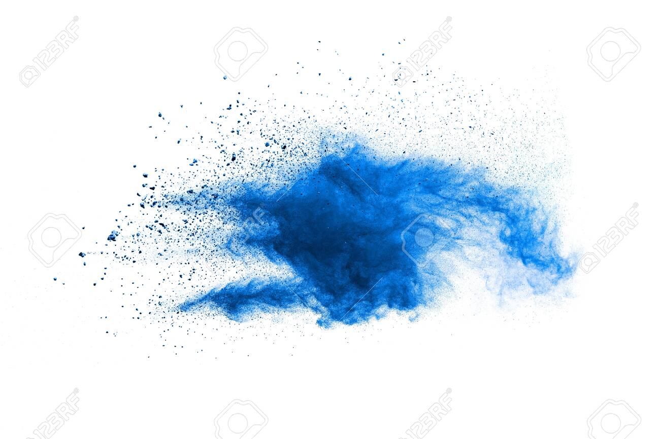 Bizarre forms of blue powder explosion cloud on white background. Launched blue dust particles splashing. - 149297986