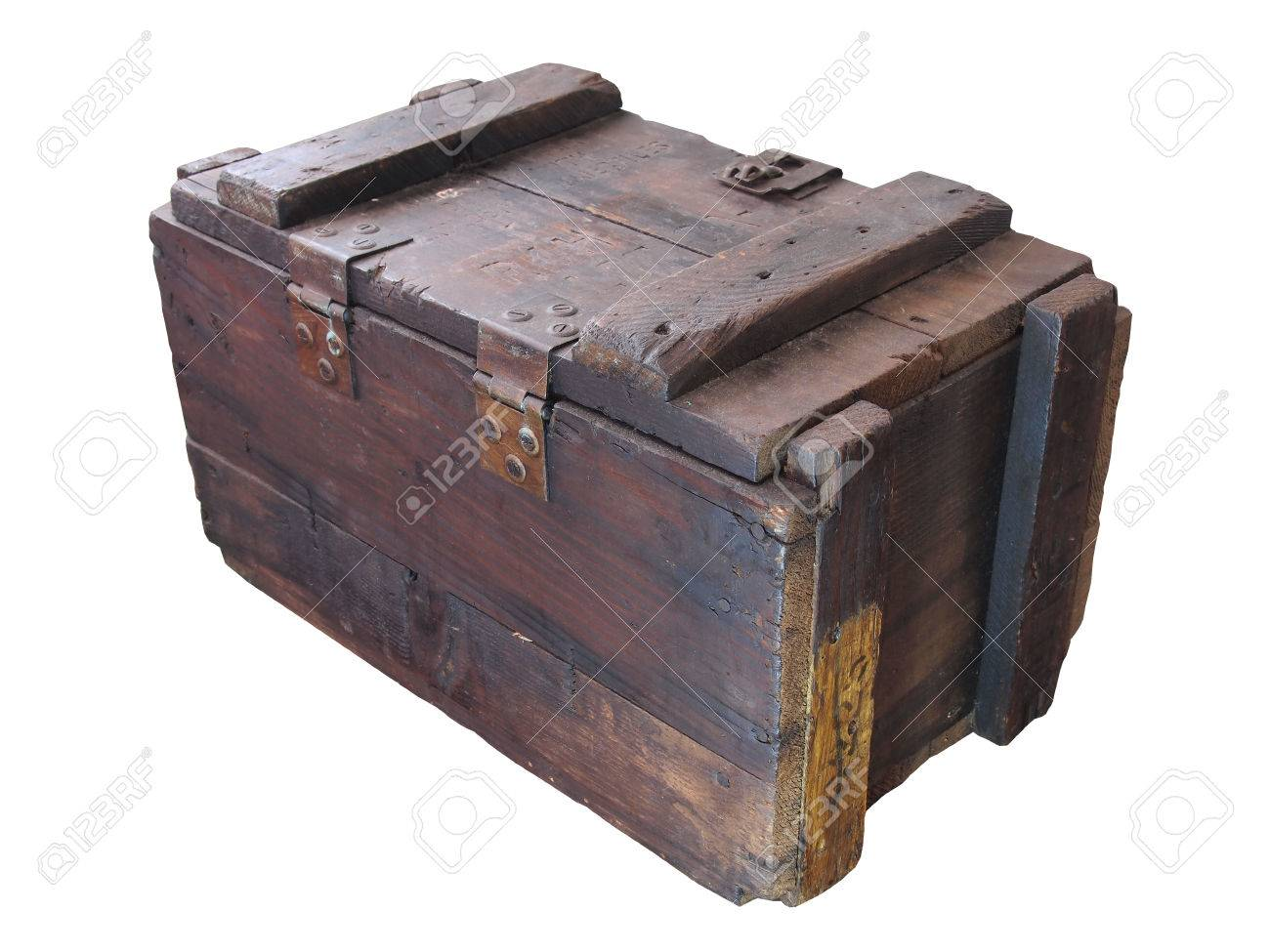 Military Wooden Crate Old Wooden Crate Isolated White