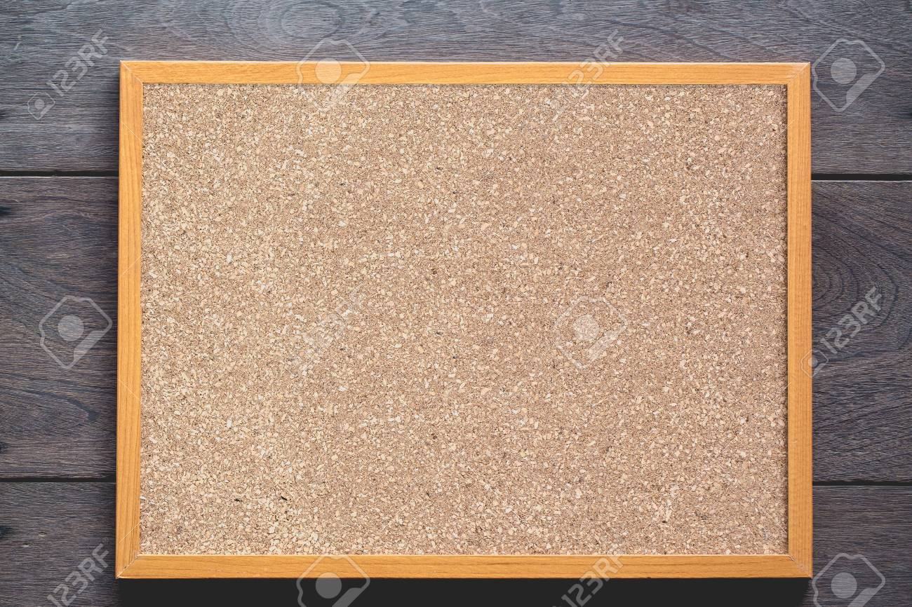 Wood Frame Cork Board On Wood Background Stock Photo, Picture And ...